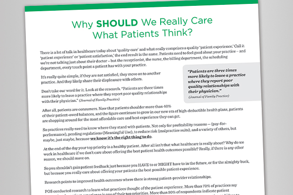 White Paper: Why should we really care what patients think?