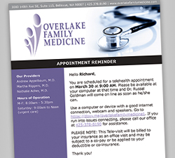 Telehealth appointment reminder email